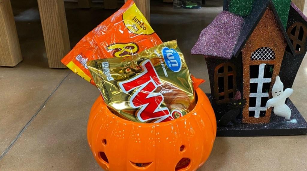 Candy Bags inside a pumpkin candy bowl