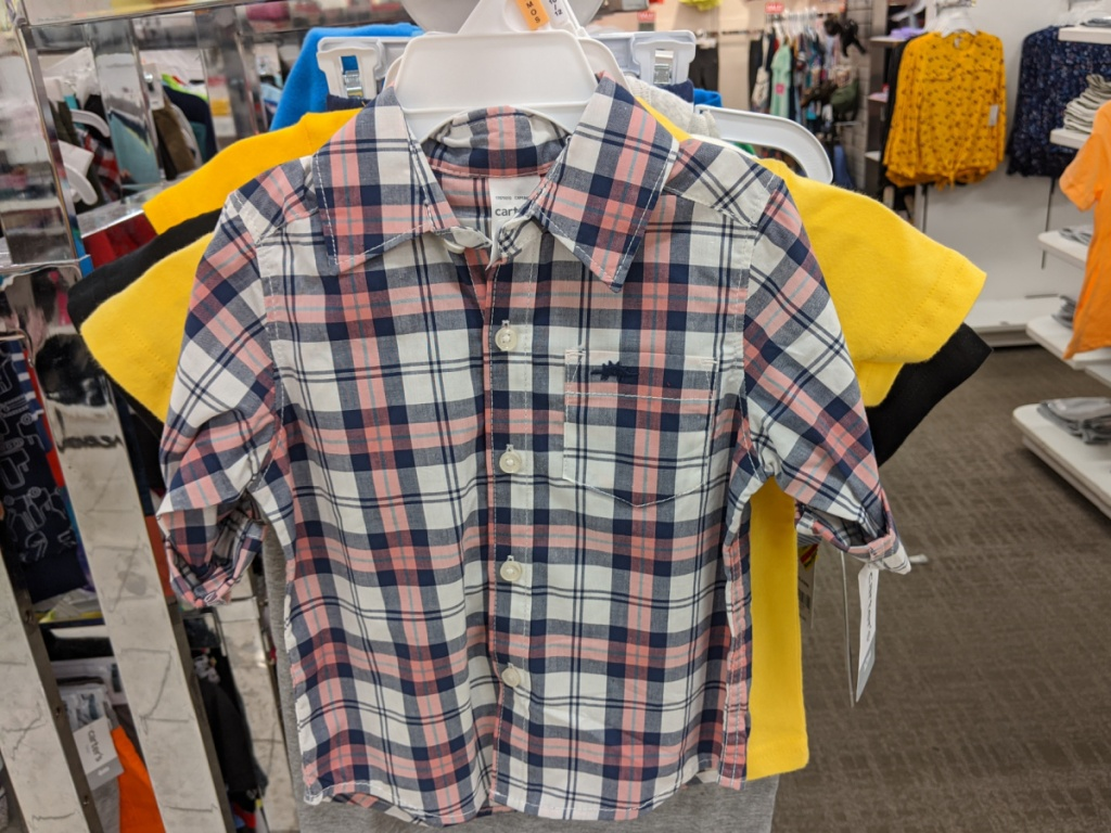 baby boys plaid shirt hanging in store