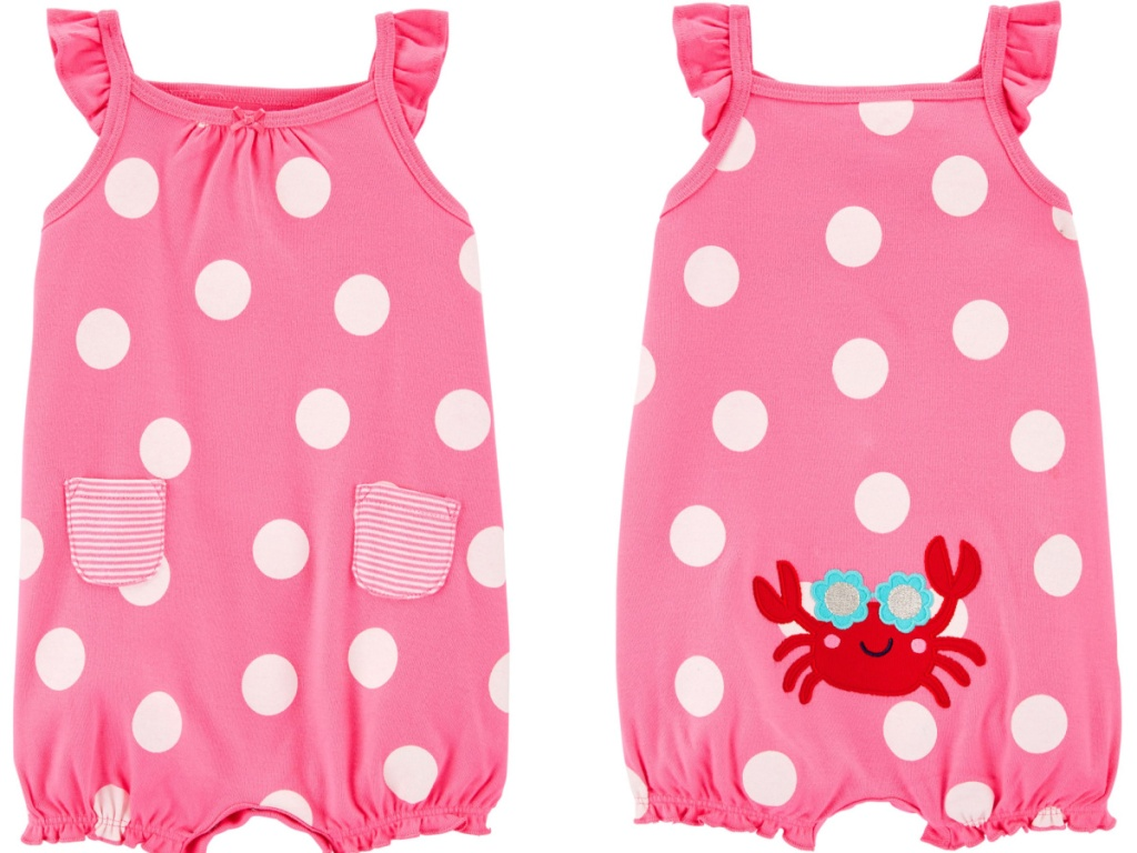 pink polka dot romper with crab on the back