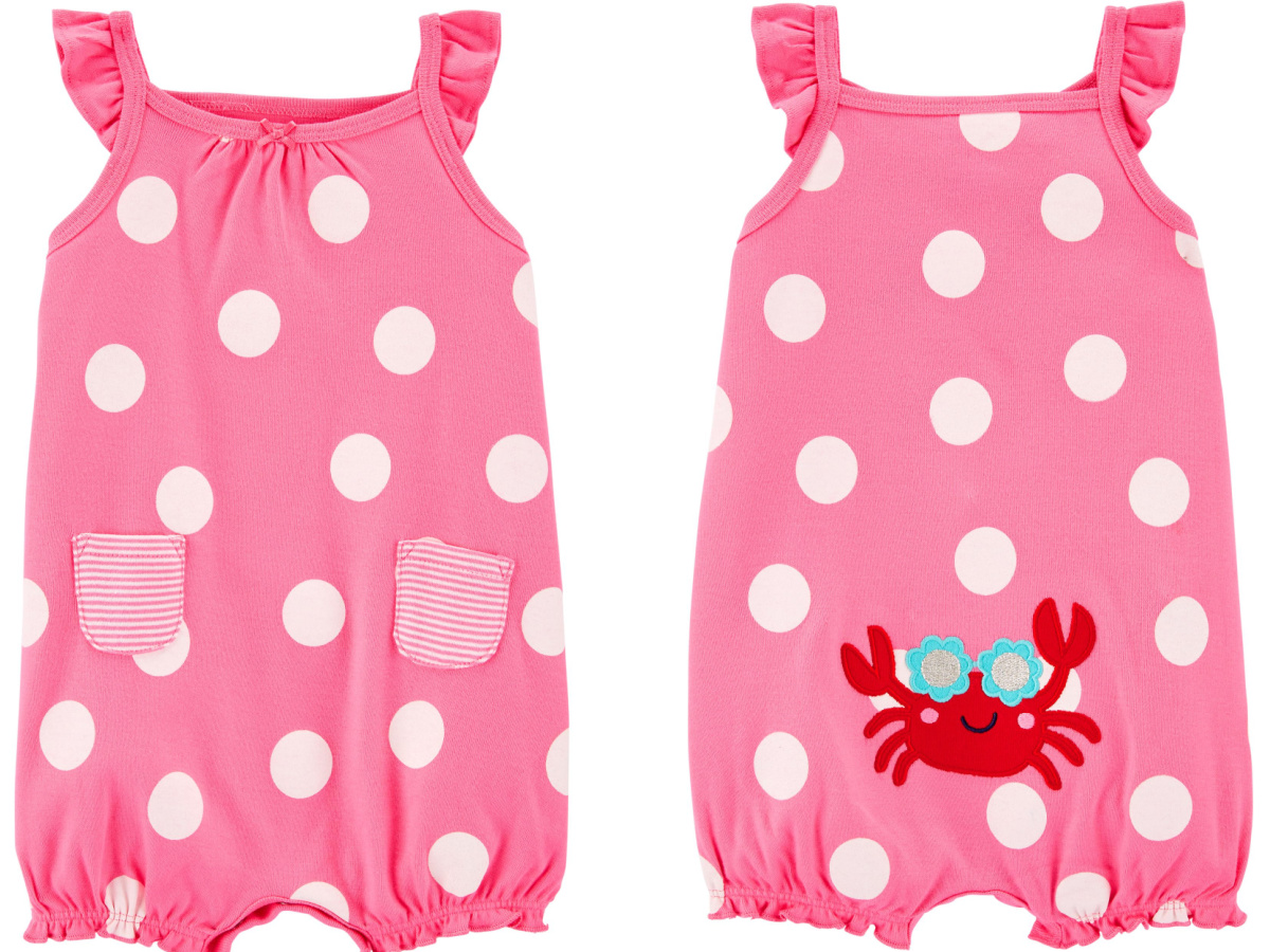 front and back of pink baby crab romper