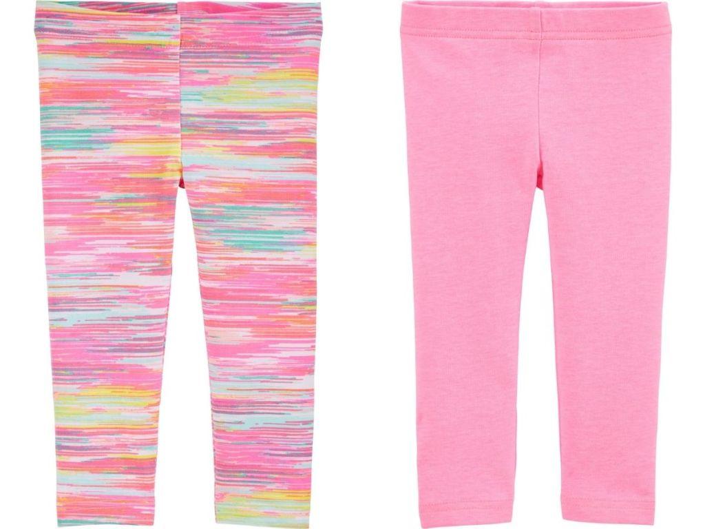 pattern leggings and pink leggings