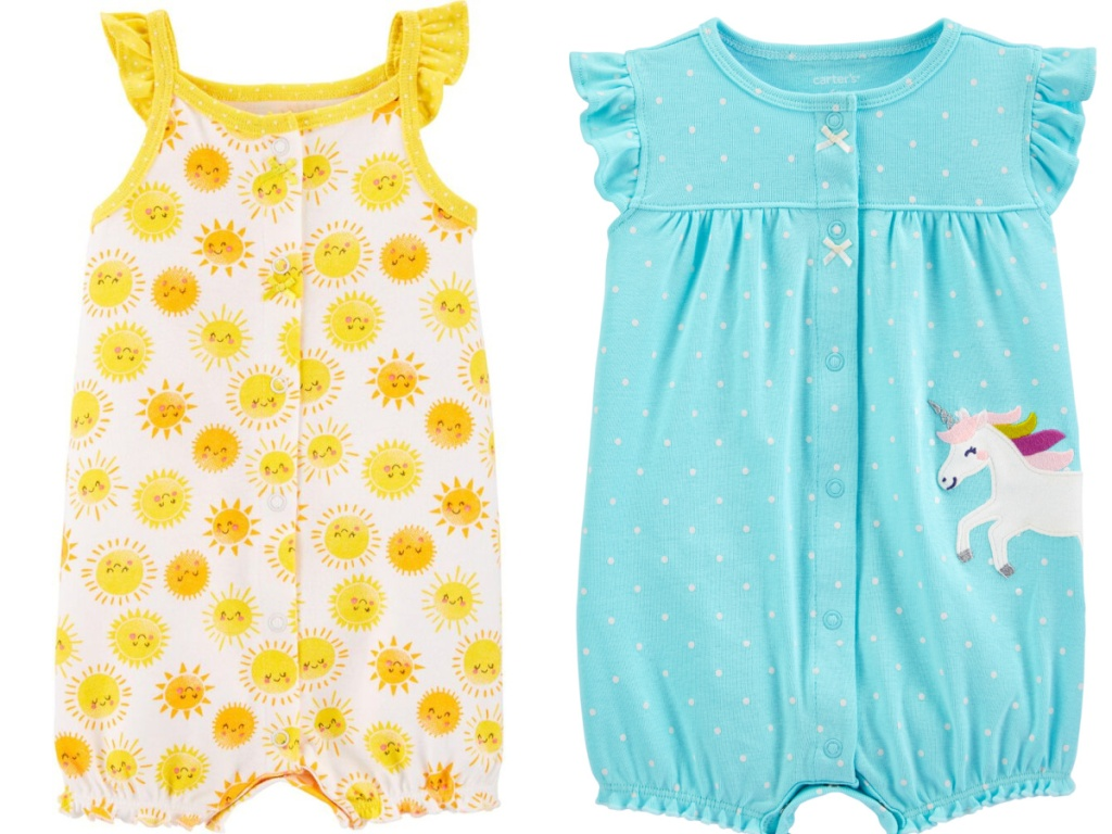 sun-themed romper and blue polka dot and unicorn romper