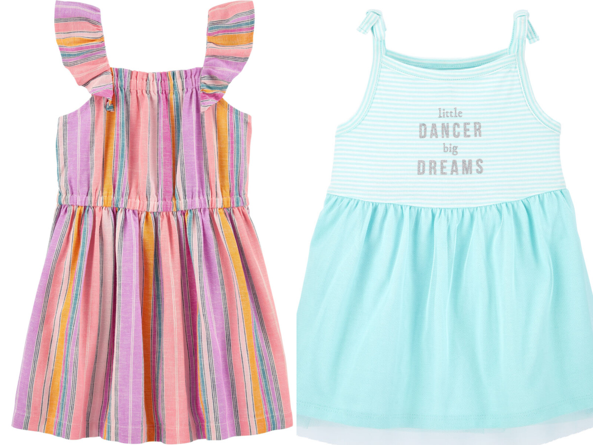 striped baby girls dress and green dress