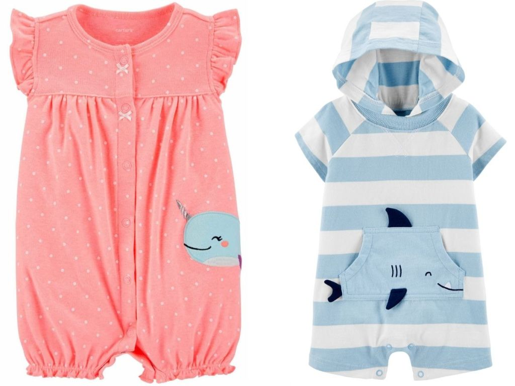 narwhal and shark rompers