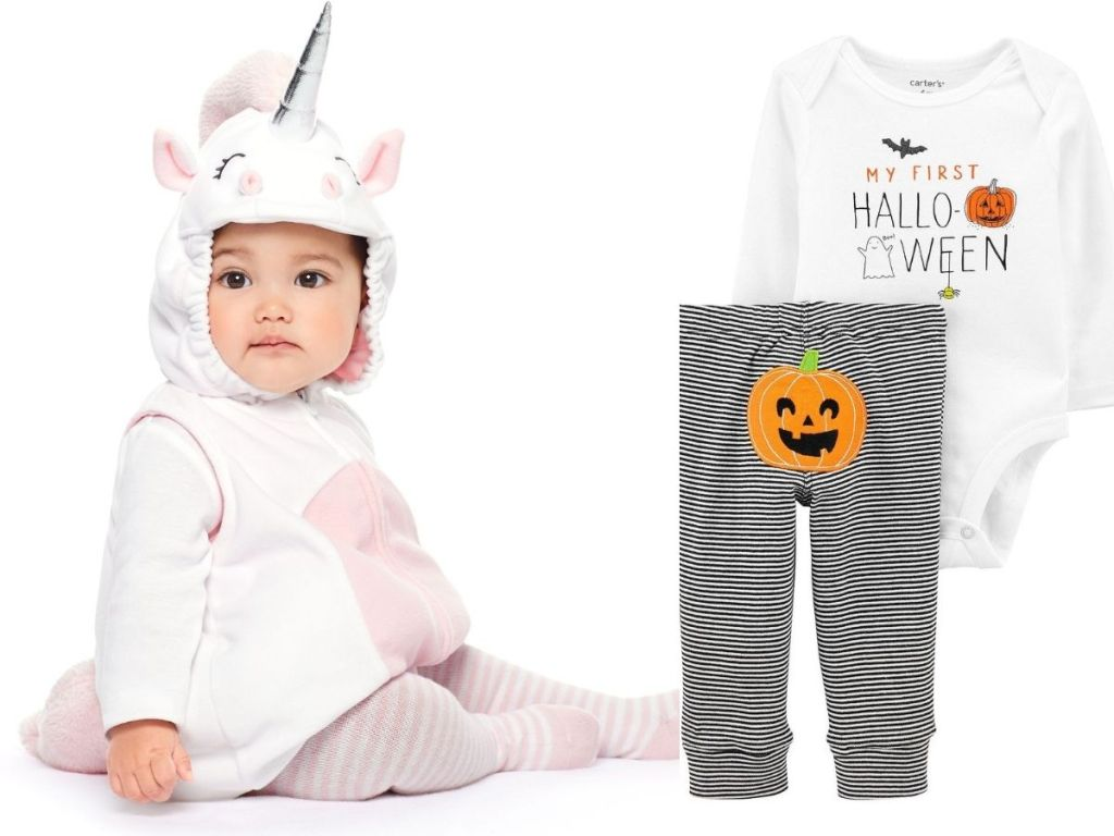 baby in unicorn costume next to 2pc my first halloween set