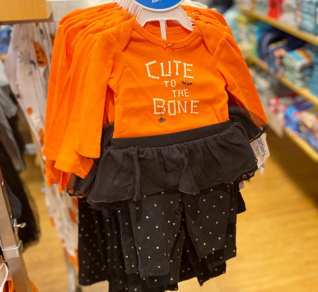 orange and black Carter's baby girls halloween 2-piece set