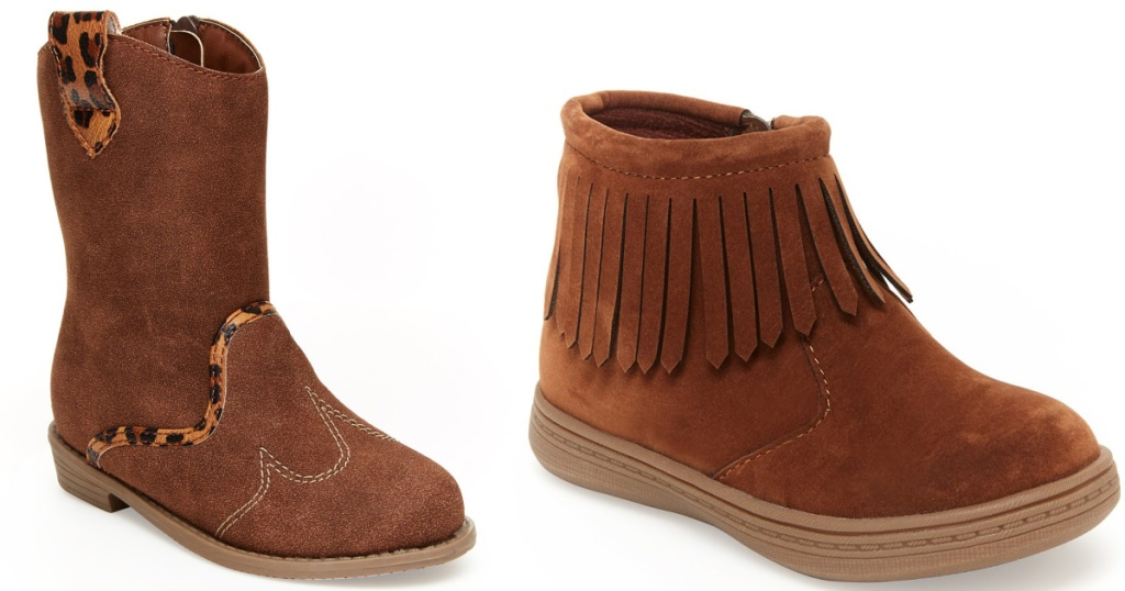 girls brown sueded cowboy boots and brown fringe boots