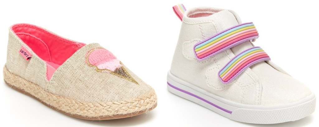 girls ice cream flats and girls high top rainbow sneakers