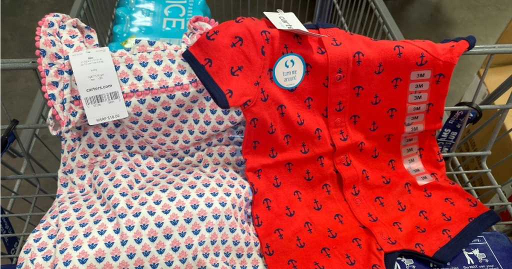 Carter's Rompers hanging on Sam's Club cart