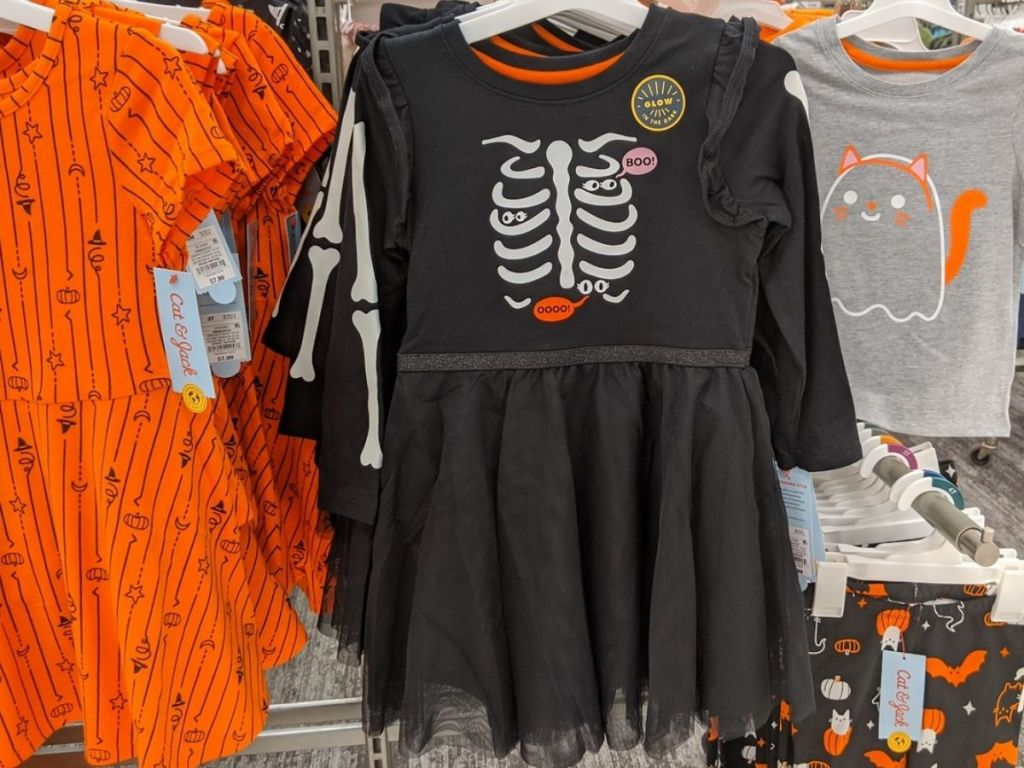 Toddler Dress with tulle skirt featuring skeleton graphic