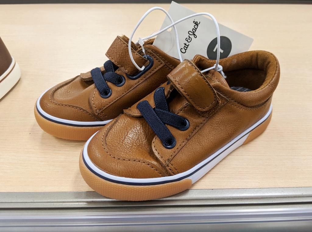 tan toddler sneakers in store