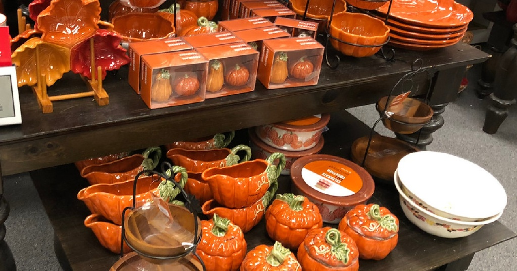 pumpkin dinnerware on display in store