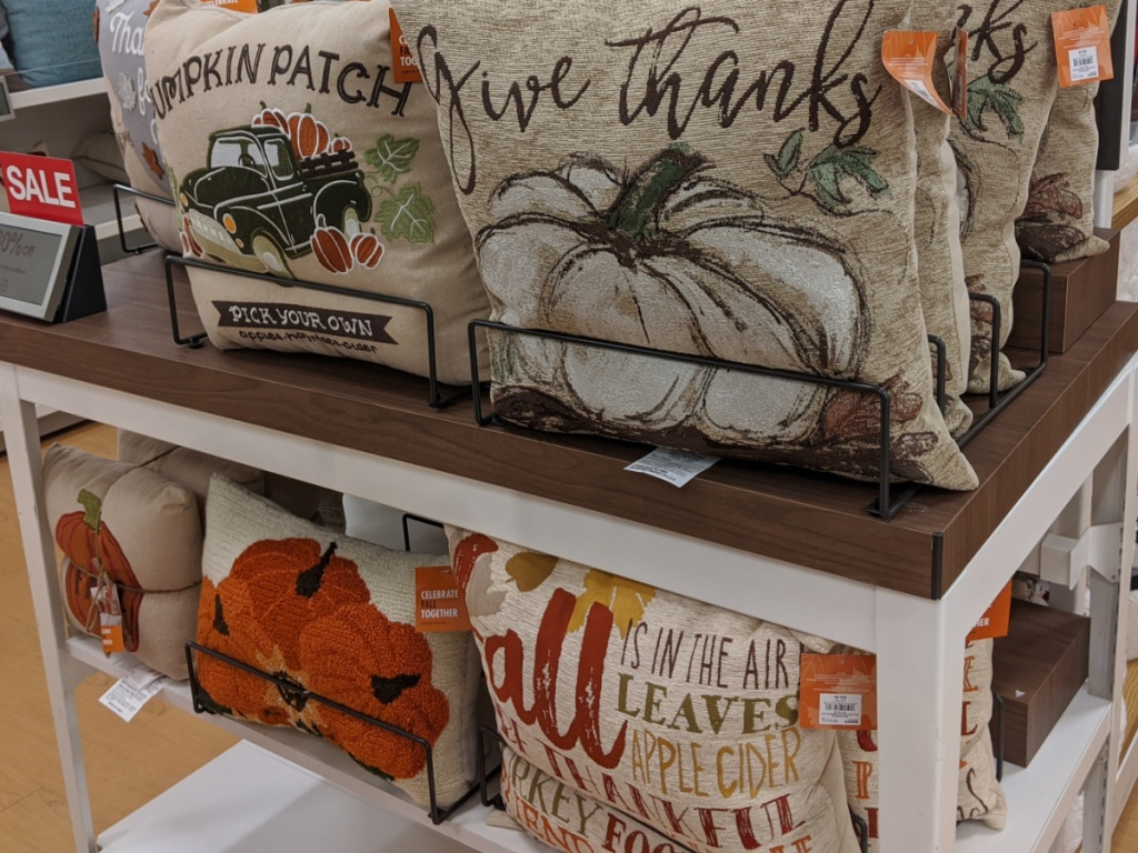 various Fall and Halloween themed throw pillows on store display