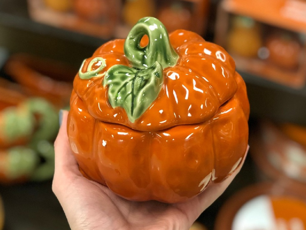 hand holding small pumpkin tureen in store