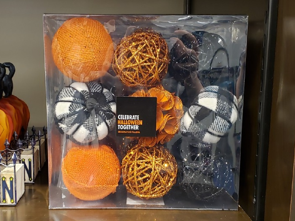 set of nine Halloween-themed decorative balls in store