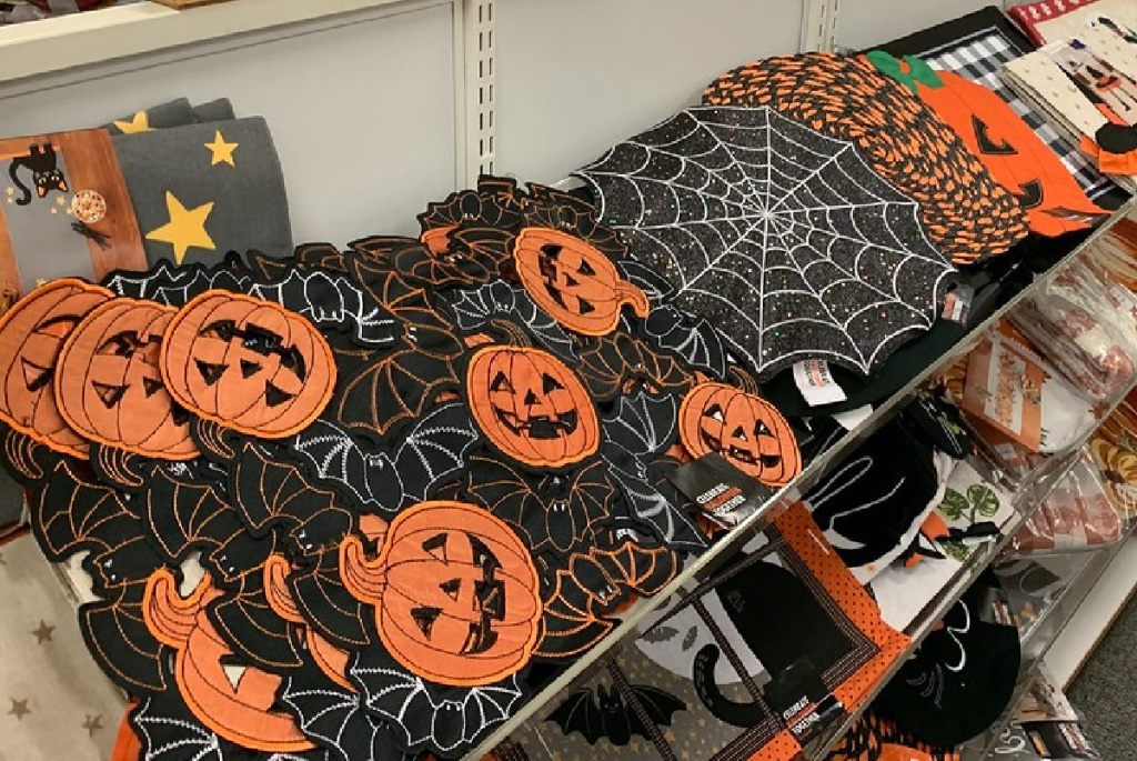 Halloween placemats on shelf in store