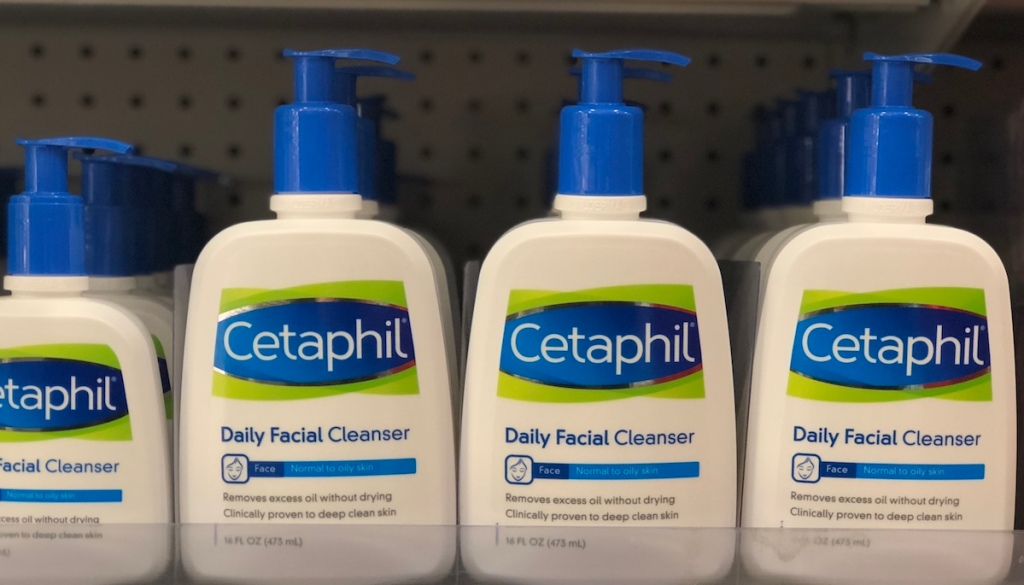 row of Cetaphil Daily Facial Cleansers on shelf at a store