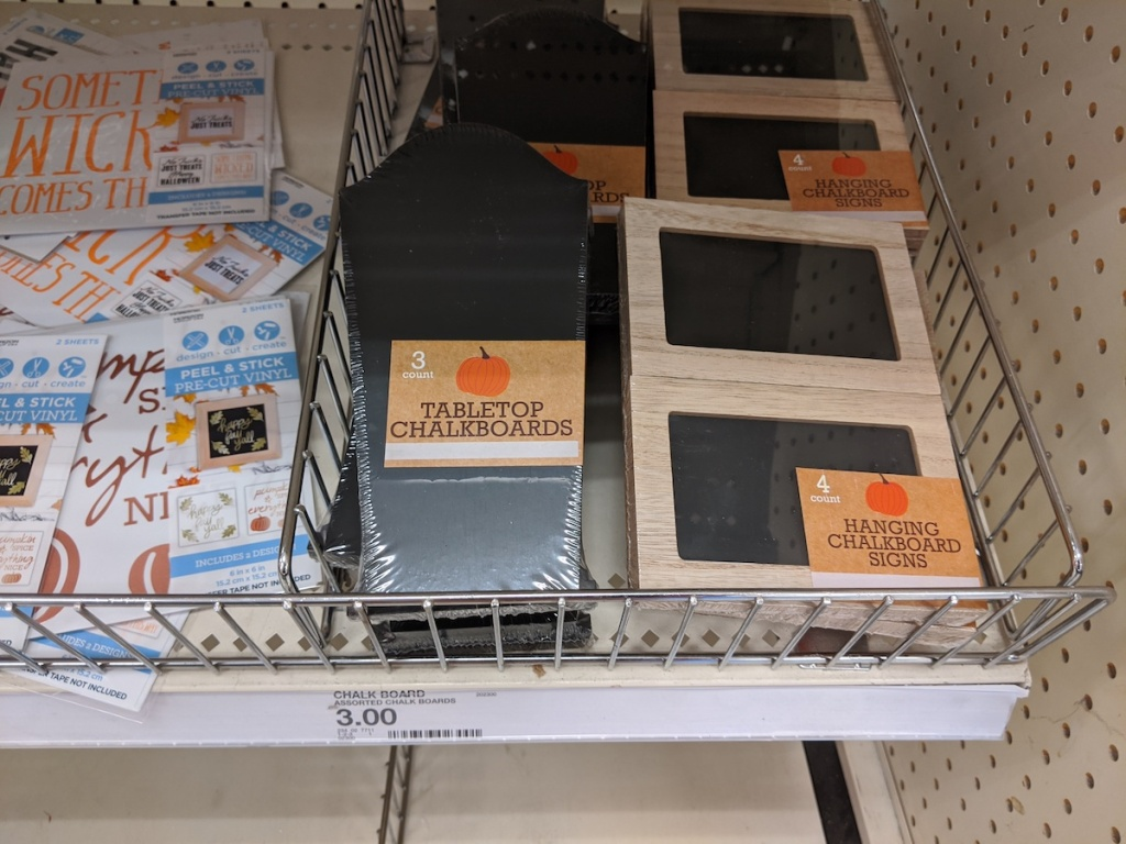 tomb shape and rectangular Chalkboards on shelf at target