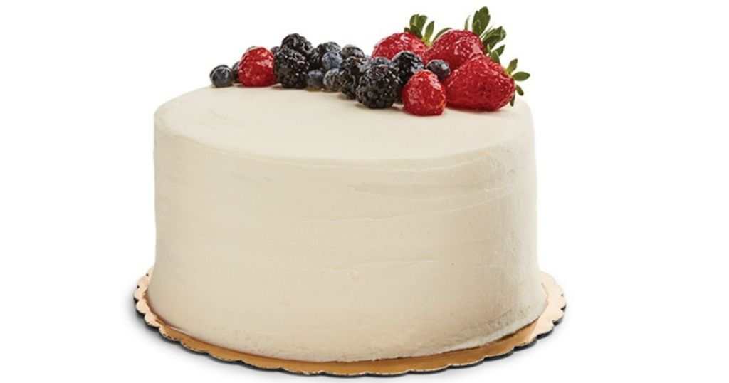 Chantilly Lace white cake with berries