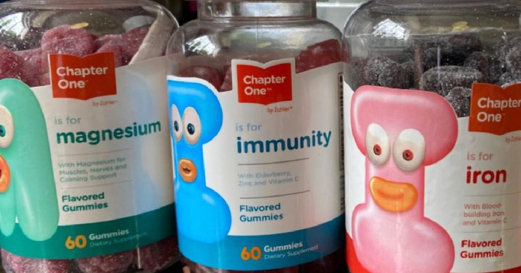 three bottles of children's gummies