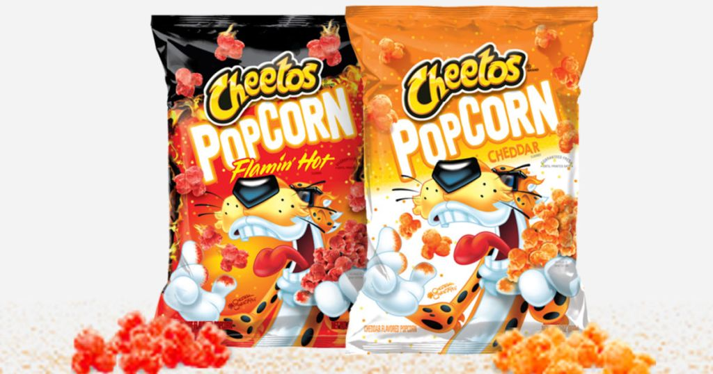 two bags of Cheetos popcorn