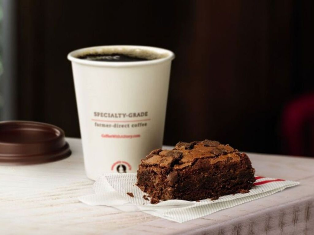 Chick Fil-A brownie and coffee
