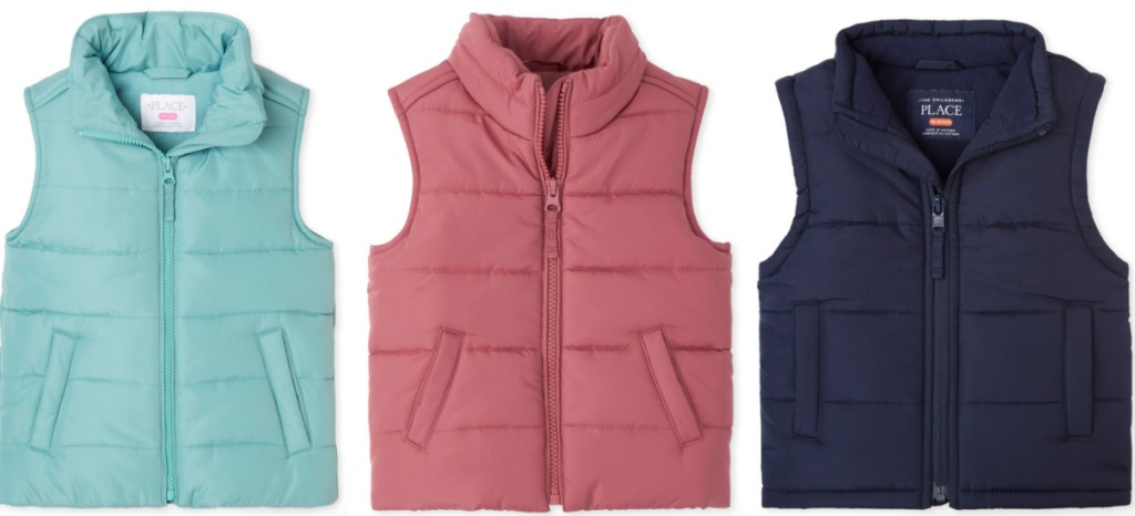 kids' puffer vests from the children's place