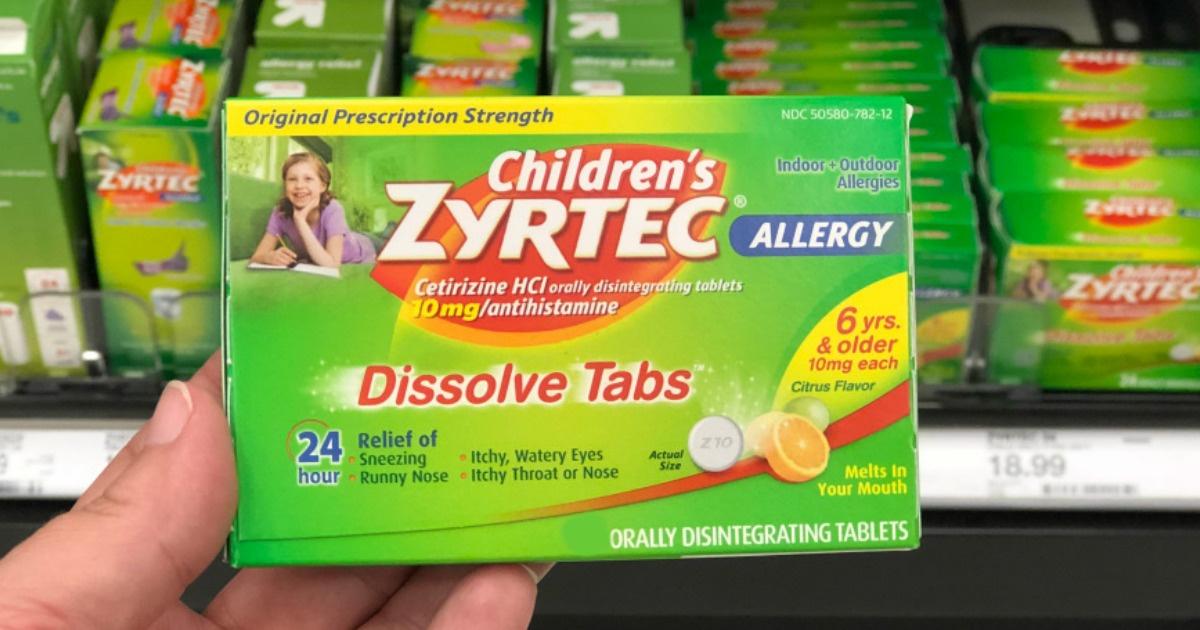 hand holding box of children's zyrtec dissolve tabs