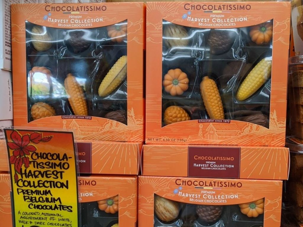 Boxes of Harvest Vegetable shaped belgian chocolates