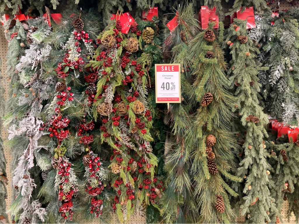 holiday garlands hanging in store