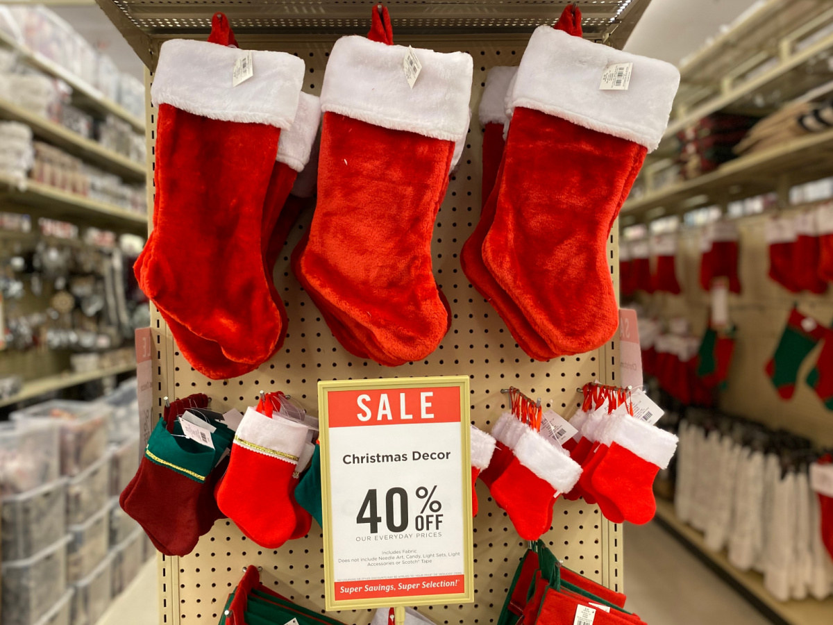 christmas stockings hanging in store