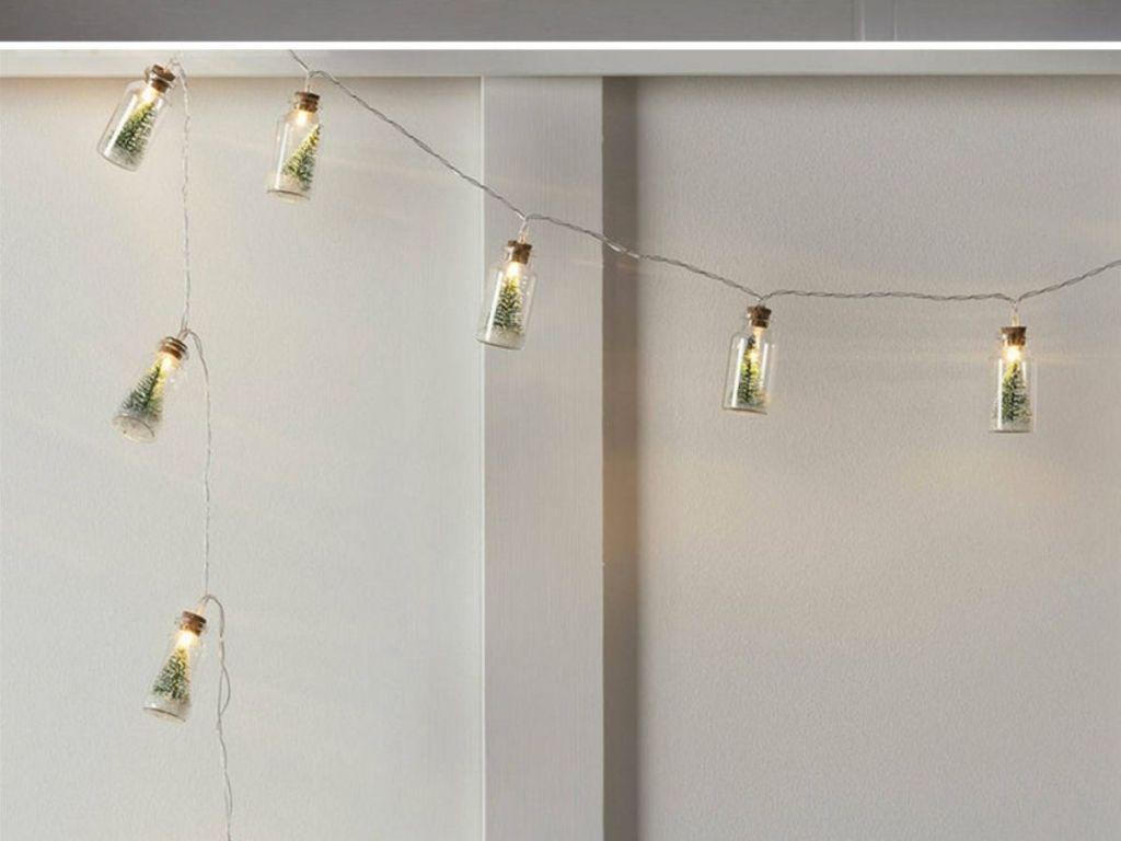 Christmas Tree Glass Jar String Lights hanging