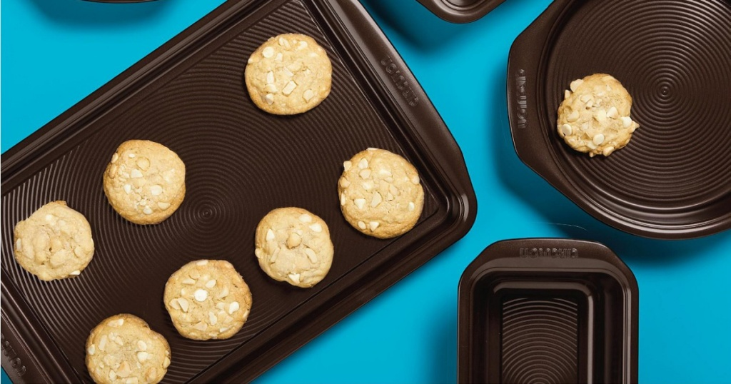 cookies on baking sheet, loaf pan, and more bakeware