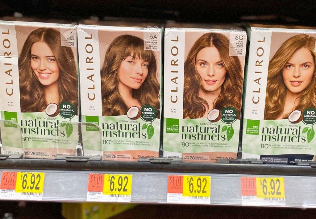 boxes of Clairol Natural Instincts hair color on Walmart shelf