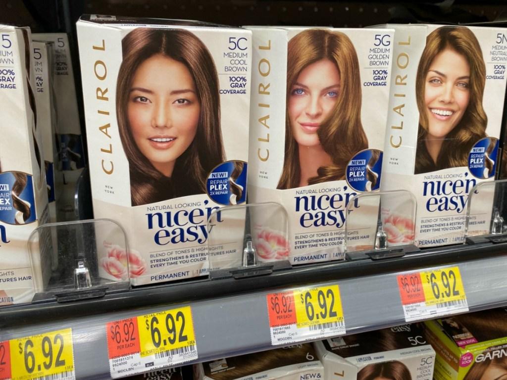 Boxes of Clairol Nice N Easy on Walmart shelves