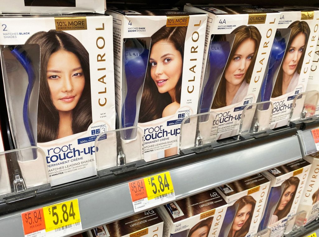 boxes of Clairol Root Touch-Up hair color on Walmart shelf