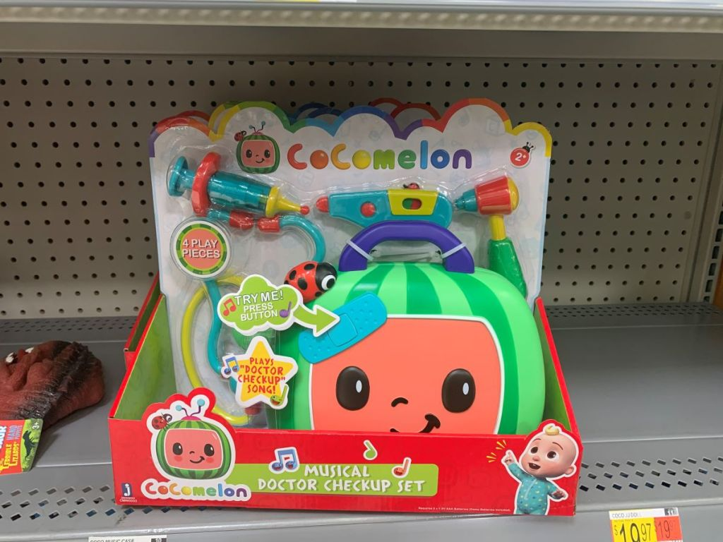Cocomelon Musical Doctor Check Up toy on shelf at Walmart