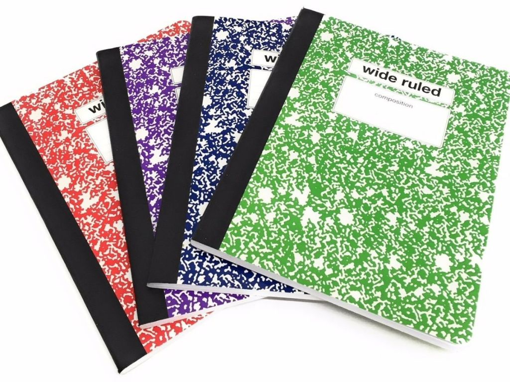 multiple colors of composition notebooks