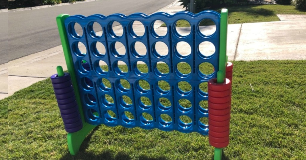 Connect 4 Giant Game set up in yard