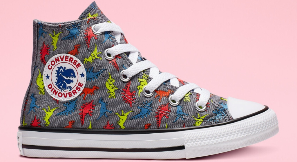 kids dinosaur print gray high top sneaker and pink background