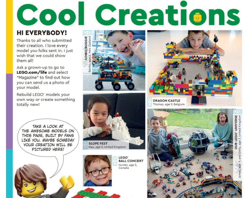 Cool Creations in LEGO Magazine featuring kids creations