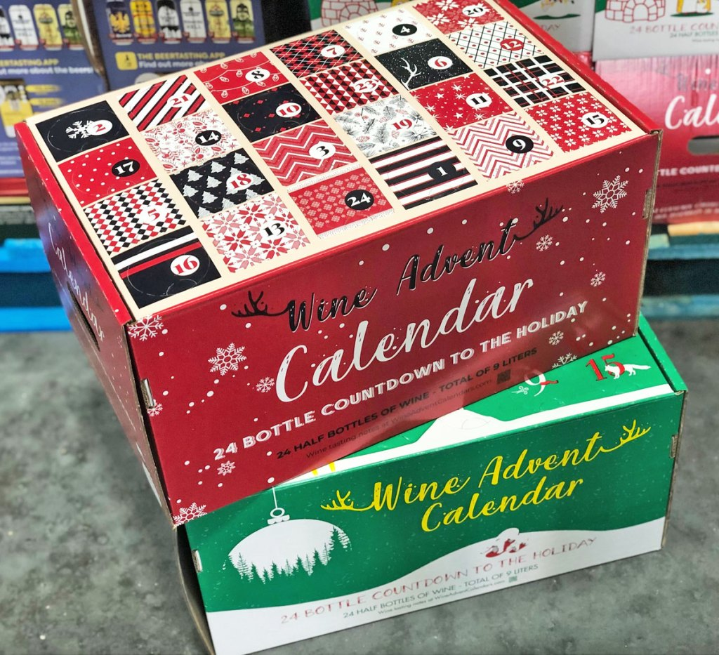 red and green boxes of wine advent calendars stacked on top of each other