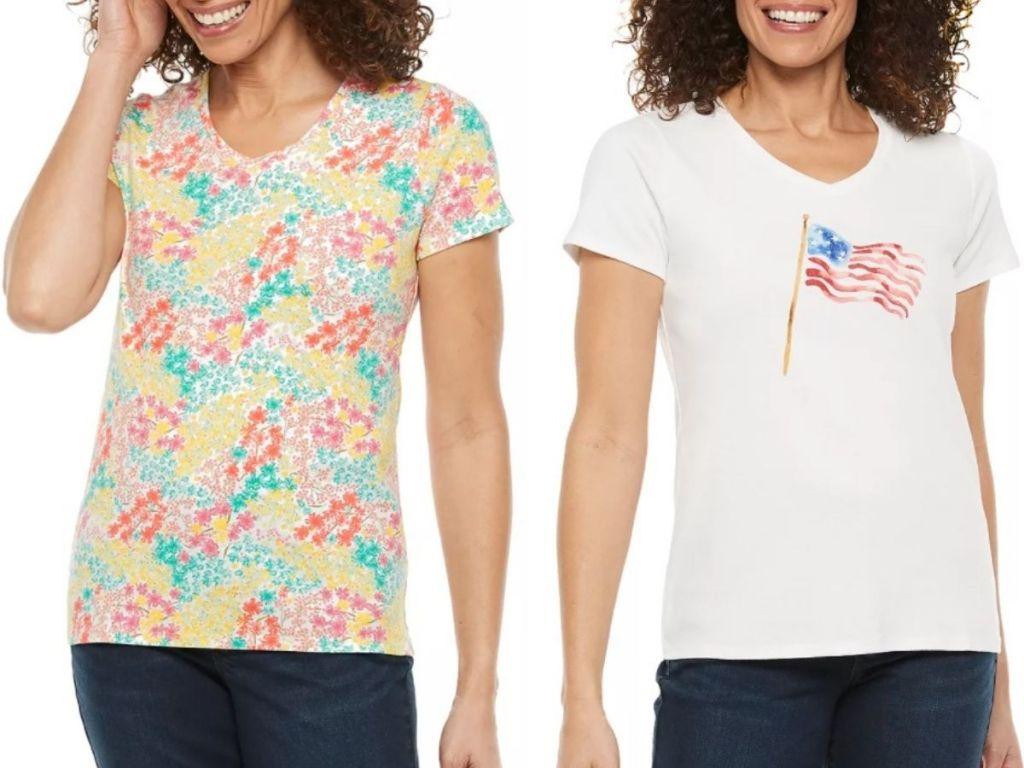 Croft & Barrow Essential V-Neck t-Shirts for women