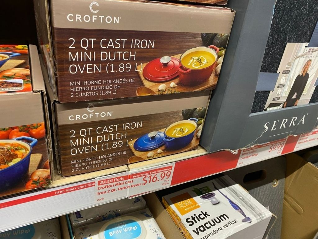 Crofton 2qt cast iron mini dutch oven box on store shelf