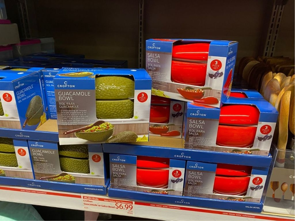 Crofton salsa bowl and guacamole bowl on store shelf