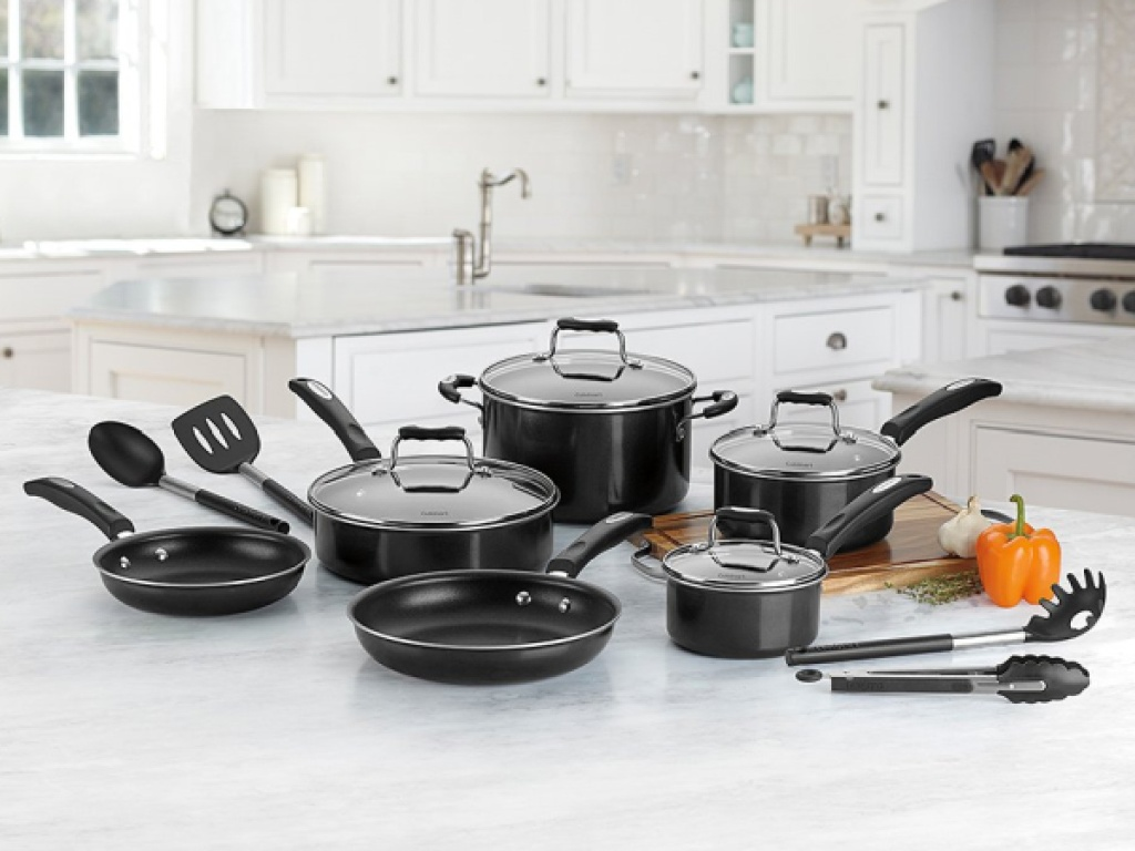 black 14-piece cookware set on large kitchen counter