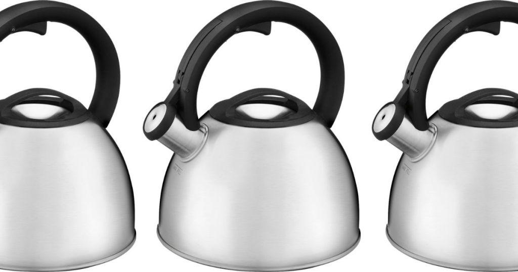 three stainless steel tea kettles