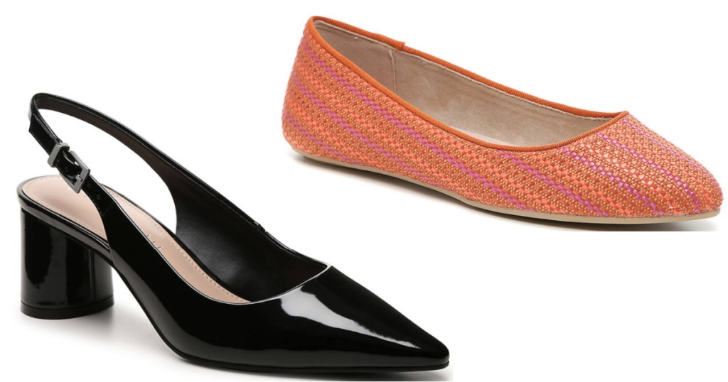 one pair of black patent pumps and a pair of orange ballet flats