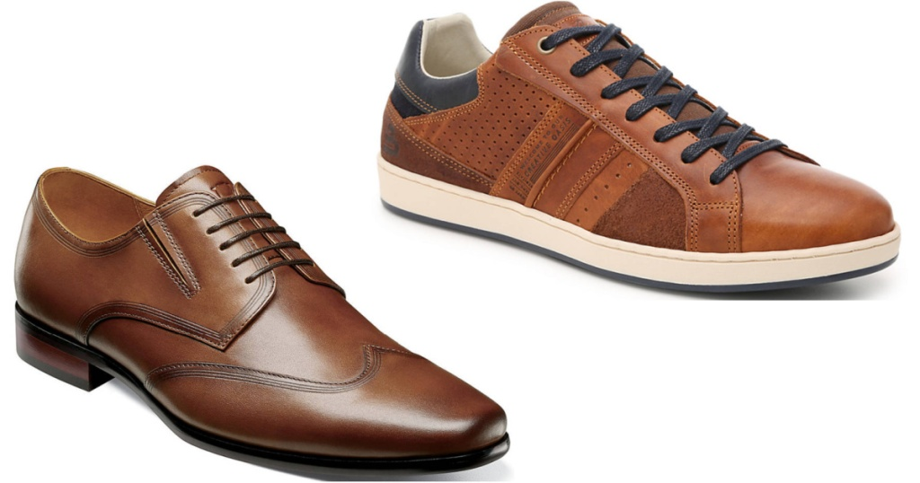 2 pairs of men's brown leather shoes sitting side by side