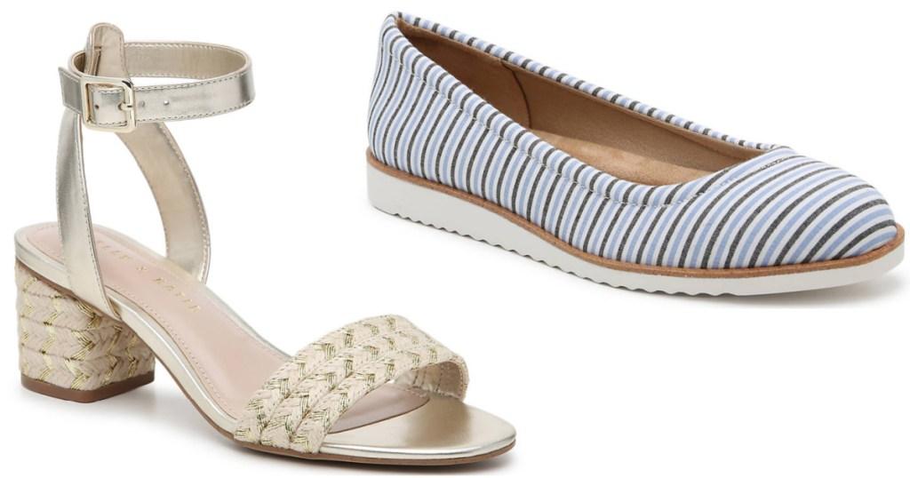 gold sandal high heels next to blue striped flats